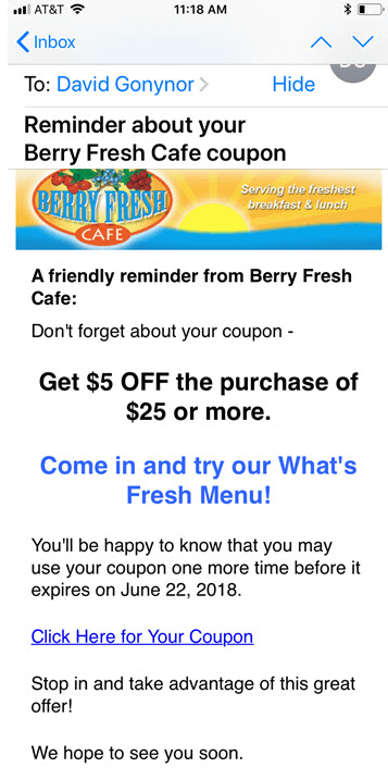 Digital coupon reminder email
